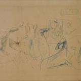 MARINI_Composizione Cavalli e figure, penna biro su carta, 57 x 31 cm