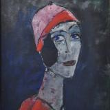 ROGNONI_Donna con cappello rosso_1987_olio su tela_55 x 46 cm