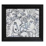 BAJ_Seil Kor e Nina si avventurarono nella foresta degli specchi, 1990, acrilico, carboncino e specchi su pannello di lino, 59 x 68.5 cm